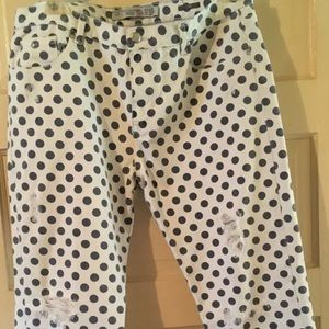 Zara US Size 10 Polka Dot Slim 38x27 Distressed
